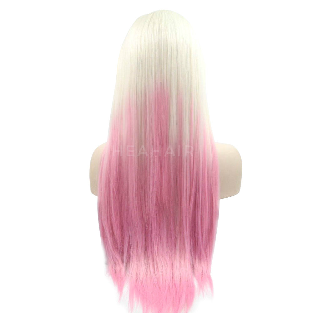 Ombre Blonde to Pink Synthetic Lace Front Wig HS6070
