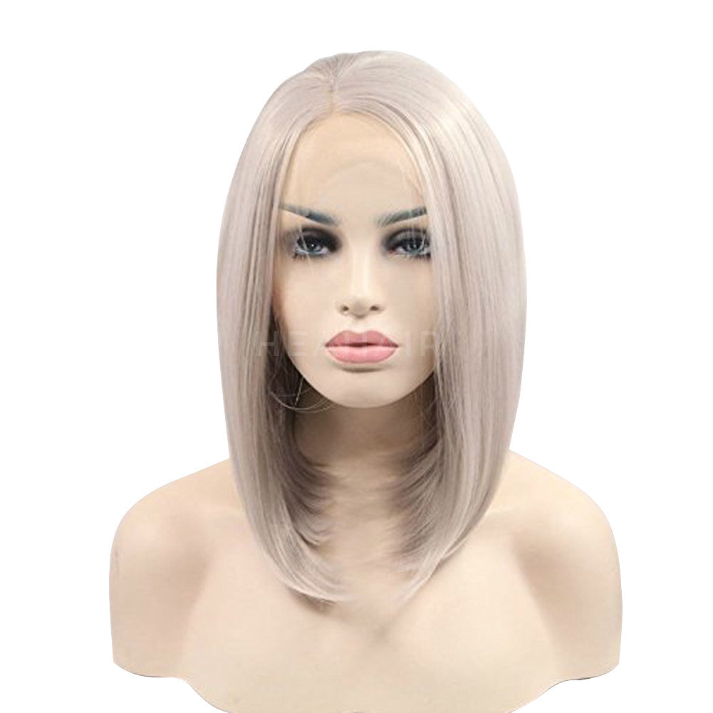 Short Silver Synthetic Lace Front Wig HS6071