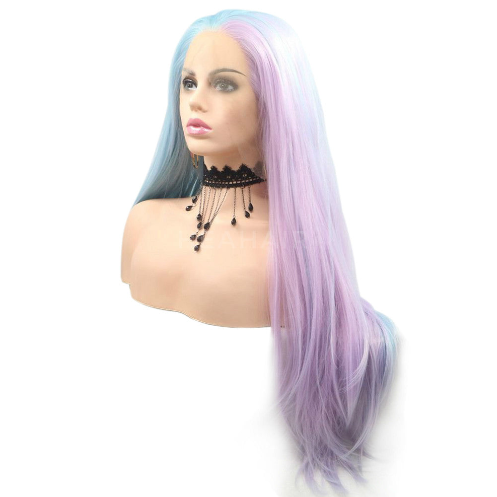 Blue Ombre Purple Synthetic Lace Front Wig HS6072