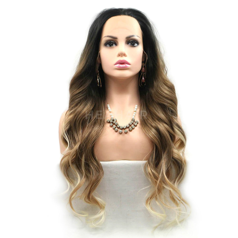 Ombre Brown Wavy Synthetic Lace Front Wig HS6073