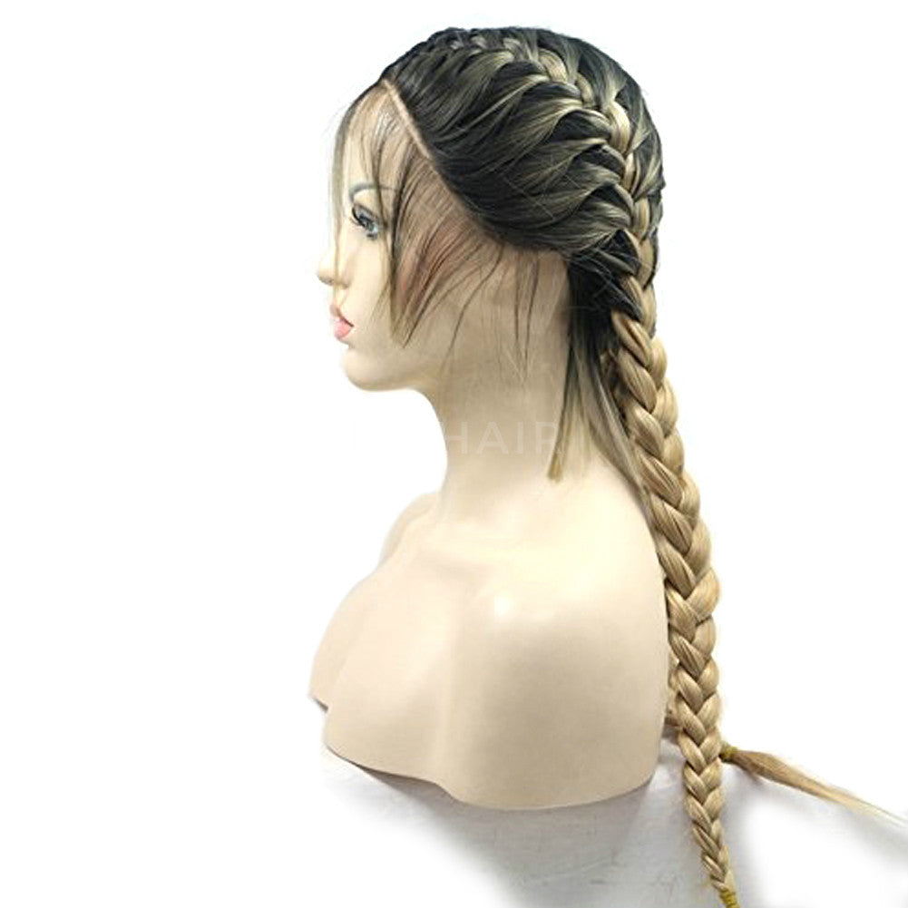 Blonde with Brown Root Double Braids Synthetic Lace Front Wig HS6074