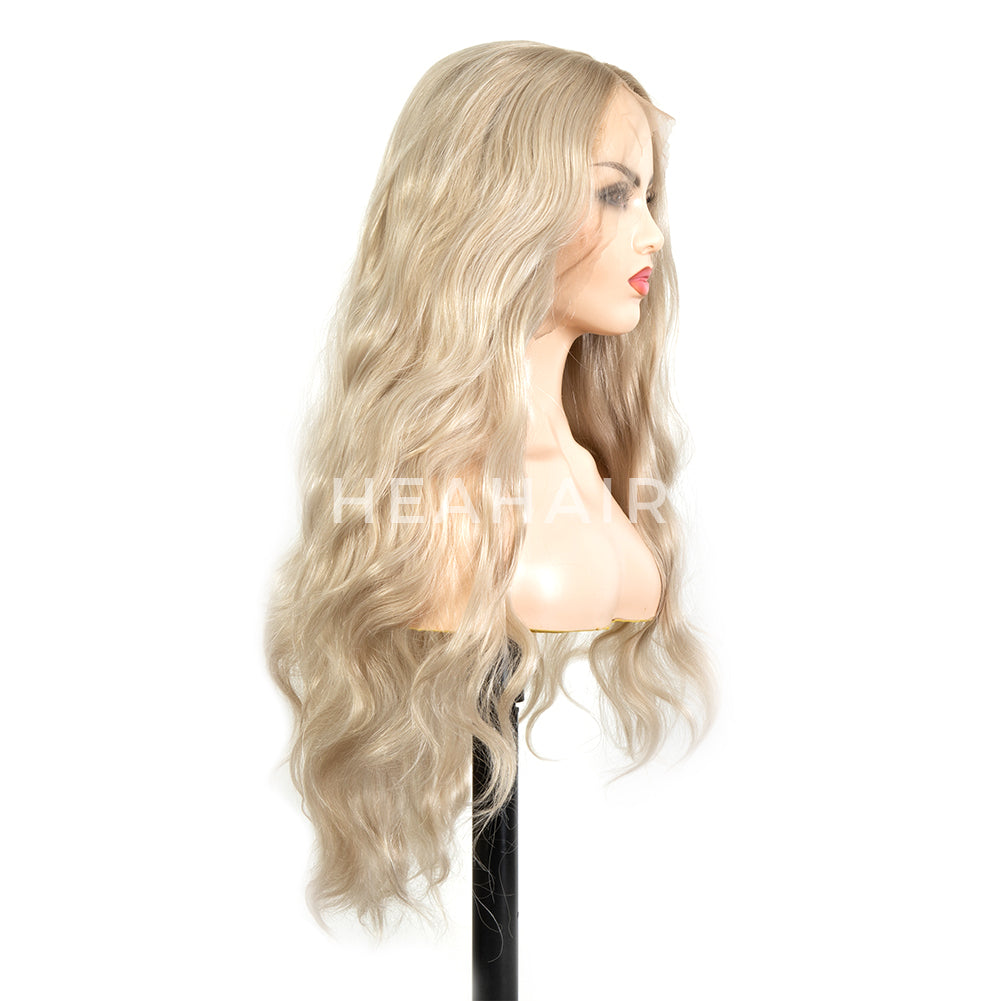 White Blonde Curly Synthetic Lace Front Wig HS6075