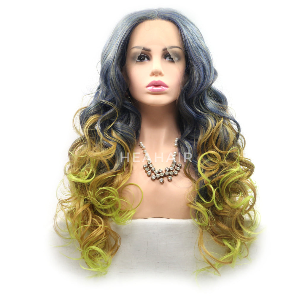Ombre Blue to Blonde Synthetic Lace Front Wigs HS6078