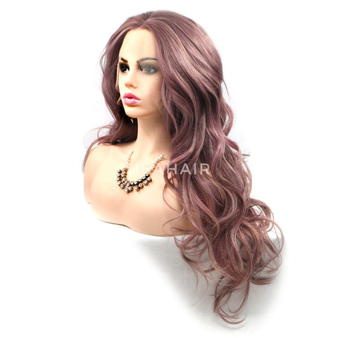 Ash Pink Wavy Synthetic Lace Front Wigs HS6080