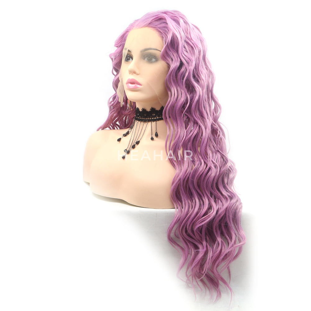Purple Wavy Synthetic Lace Front Wig HS6082