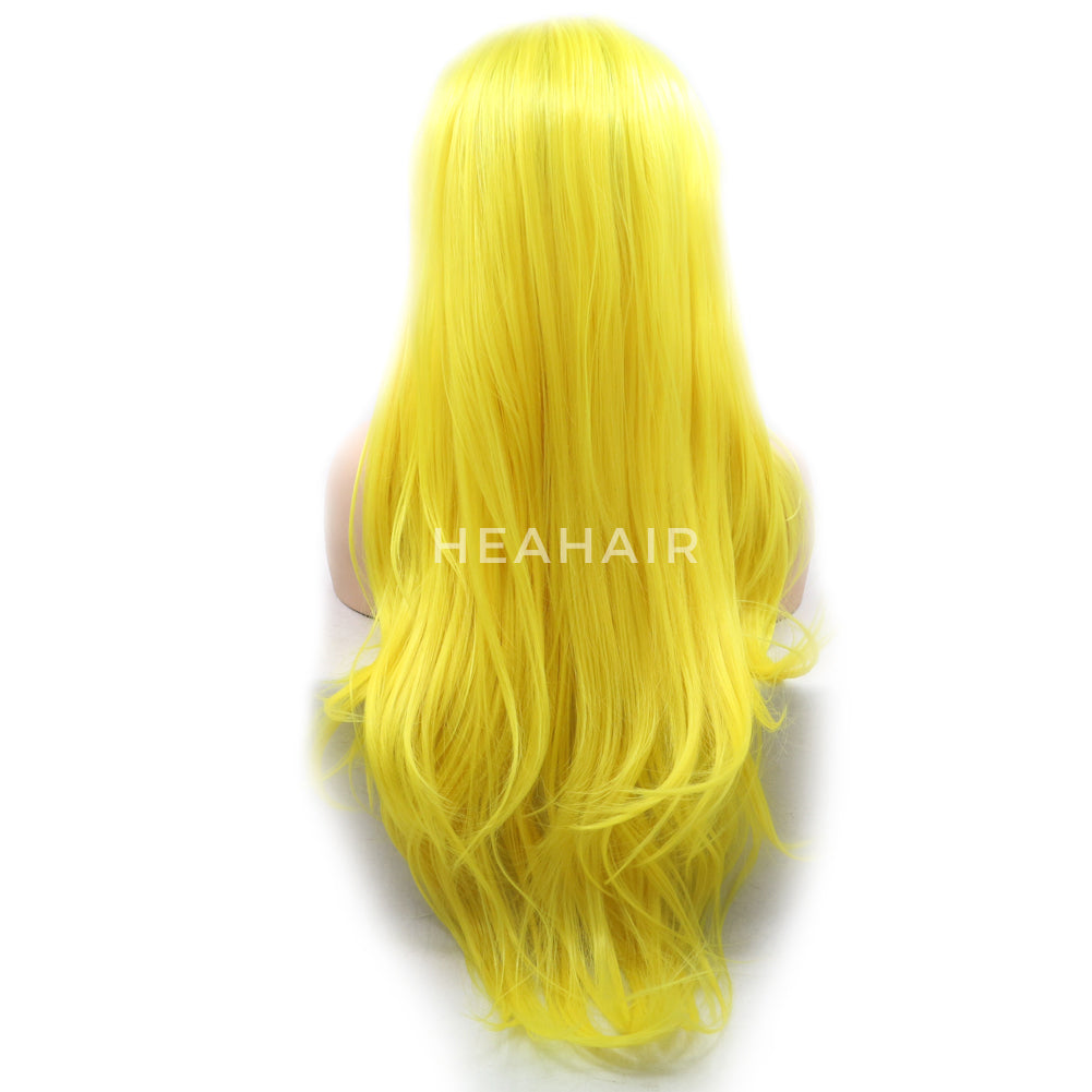 Yellow Synthetic Lace Front Wig HS6084