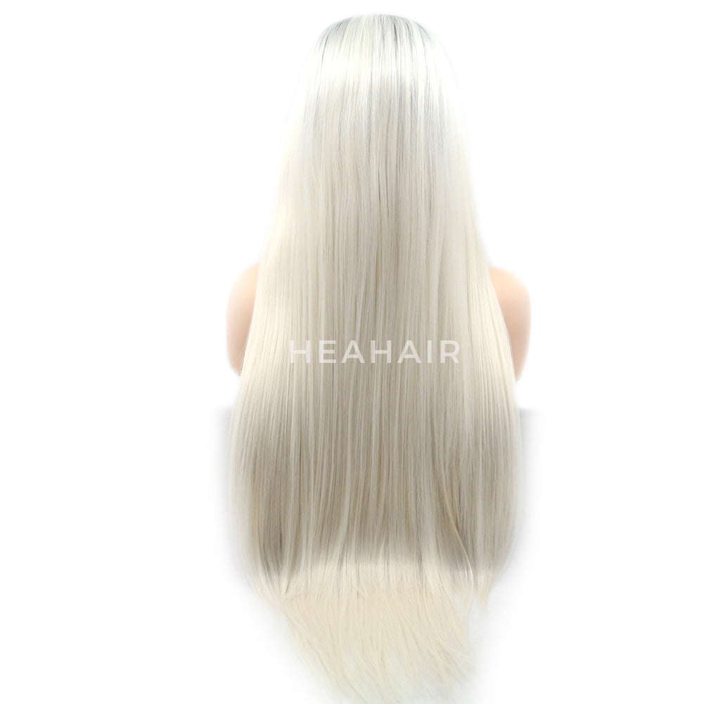 Platinum Blonde Synthetic Lace Front Wig HS6085