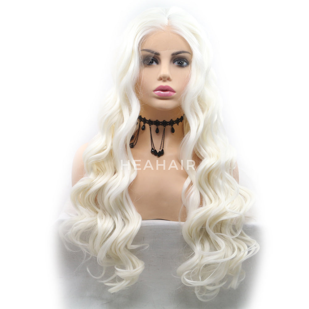 Platinum Blonde Wavy Synthetic Lace Front Wig HS6086