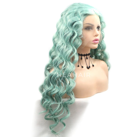 Light Green Wavy Synthetic Lace Front Wig HS6087