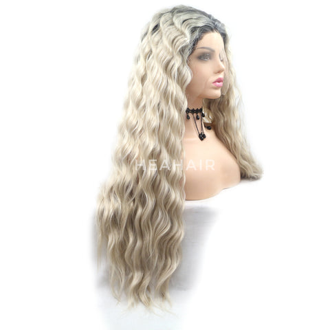 Ombre Brown Wavy Synthetic Lace Front Wig HS6088
