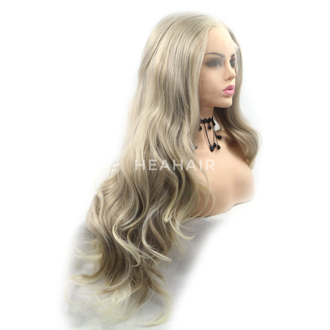Ash Blonde Wavy Synthetic Lace Front Wigs HS6091
