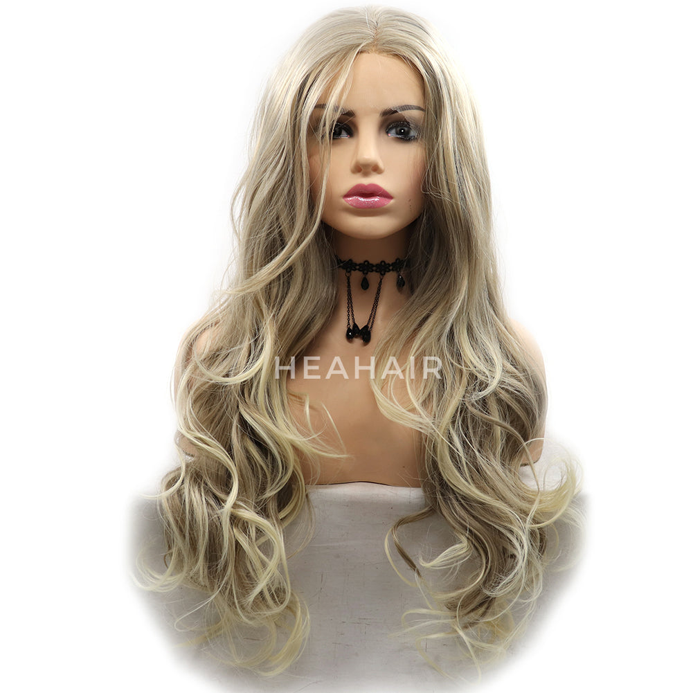 Ombre Blonde Wavy Synthetic Lace Front Wigs HS6092