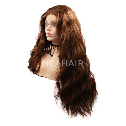 Dark Brown Wavy Synthetic Lace Front Wigs HS7049