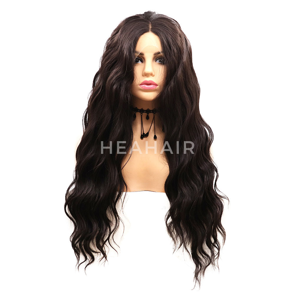 Black Wavy Synthetic Lace Front Wigs HS7053