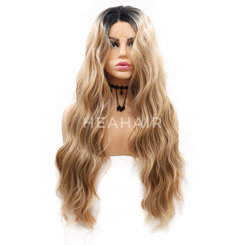 Ombre Blonde Synthetic Lace Front Wigs HS7054
