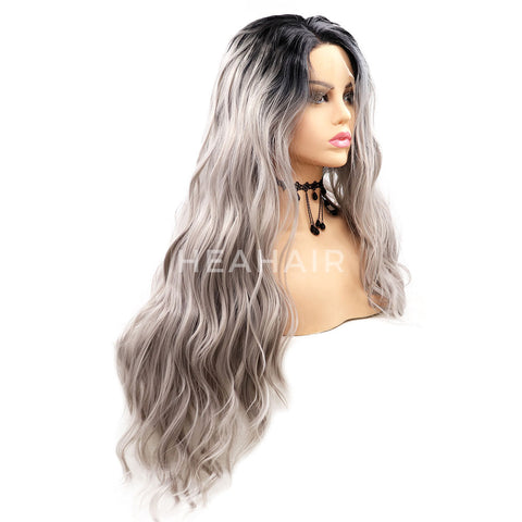 Ombre Silver Synthetic Lace Front Wigs HS7055