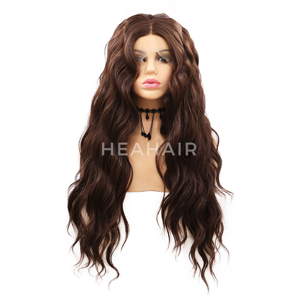Dark Brown Wavy Synthetic Lace Front Wigs HS7058
