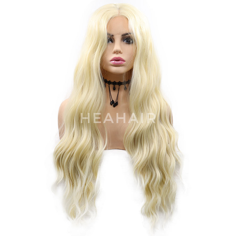 Blonde Wavy Synthetic Lace Front Wigs HS7060