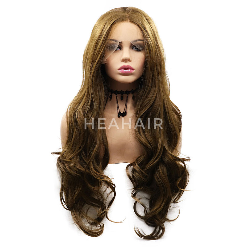 Brown Wavy Synthetic Lace Front Wigs HS7063