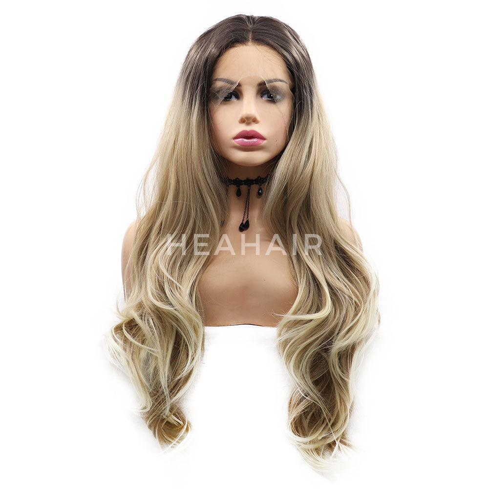 Ombre Blonde Synthetic Lace Front Wigs HS7067