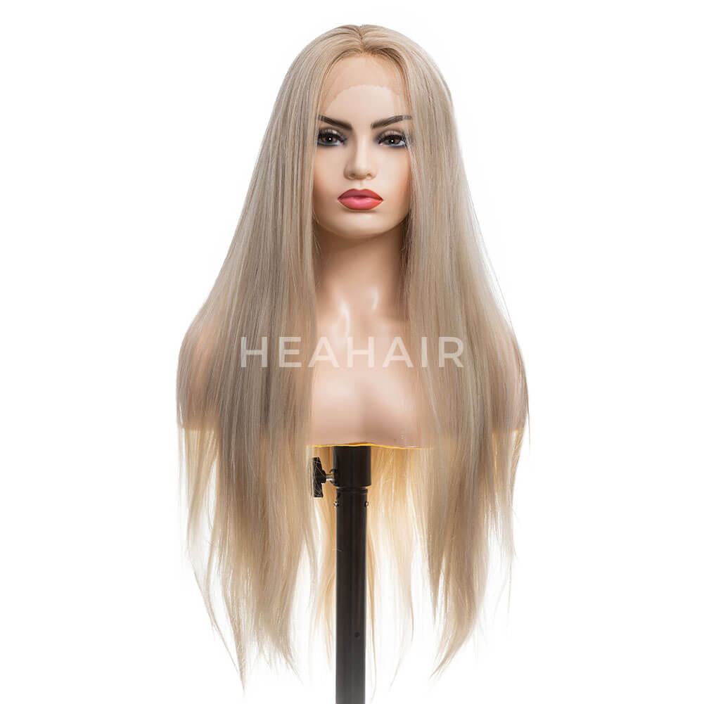 Ombre Blonde Natural Straight Synthetic Lace Front Wigs HS7072
