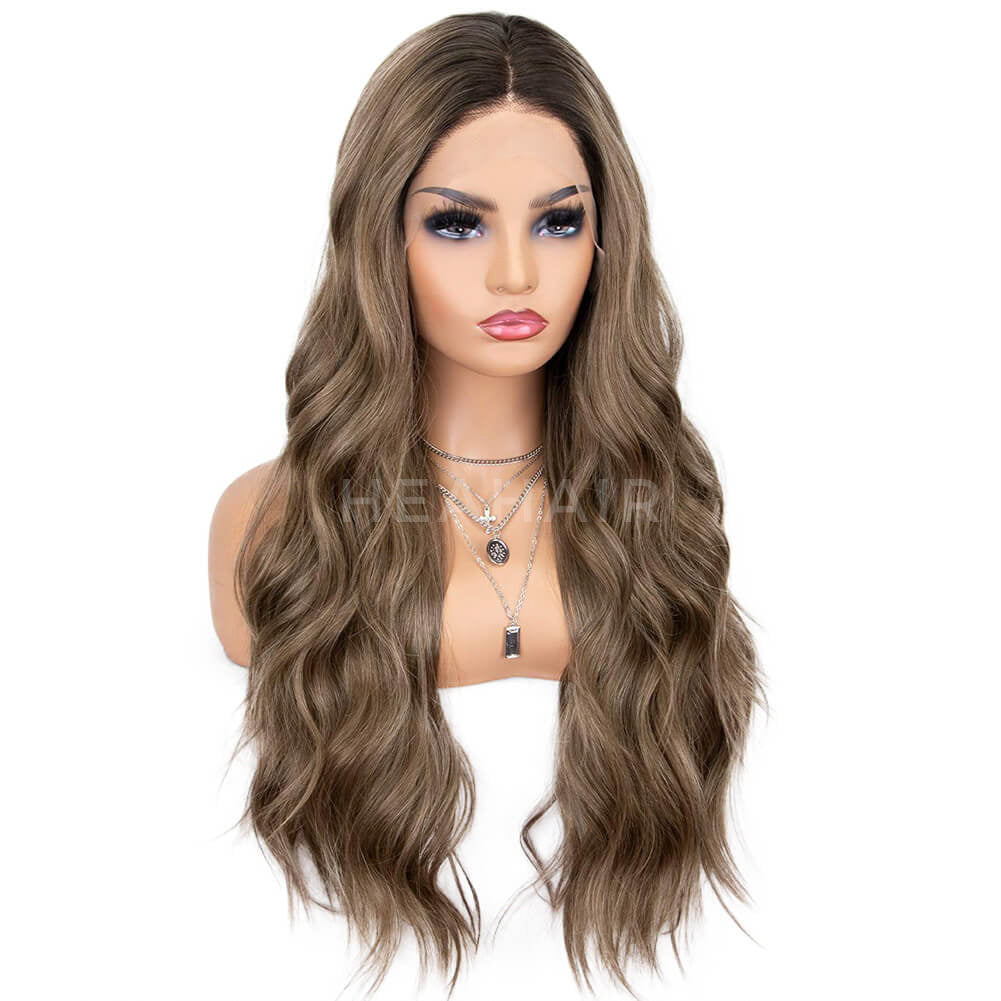 HEAHAIR Ombre Brown Wavy Synthetic Lace Front Wigs HS7078
