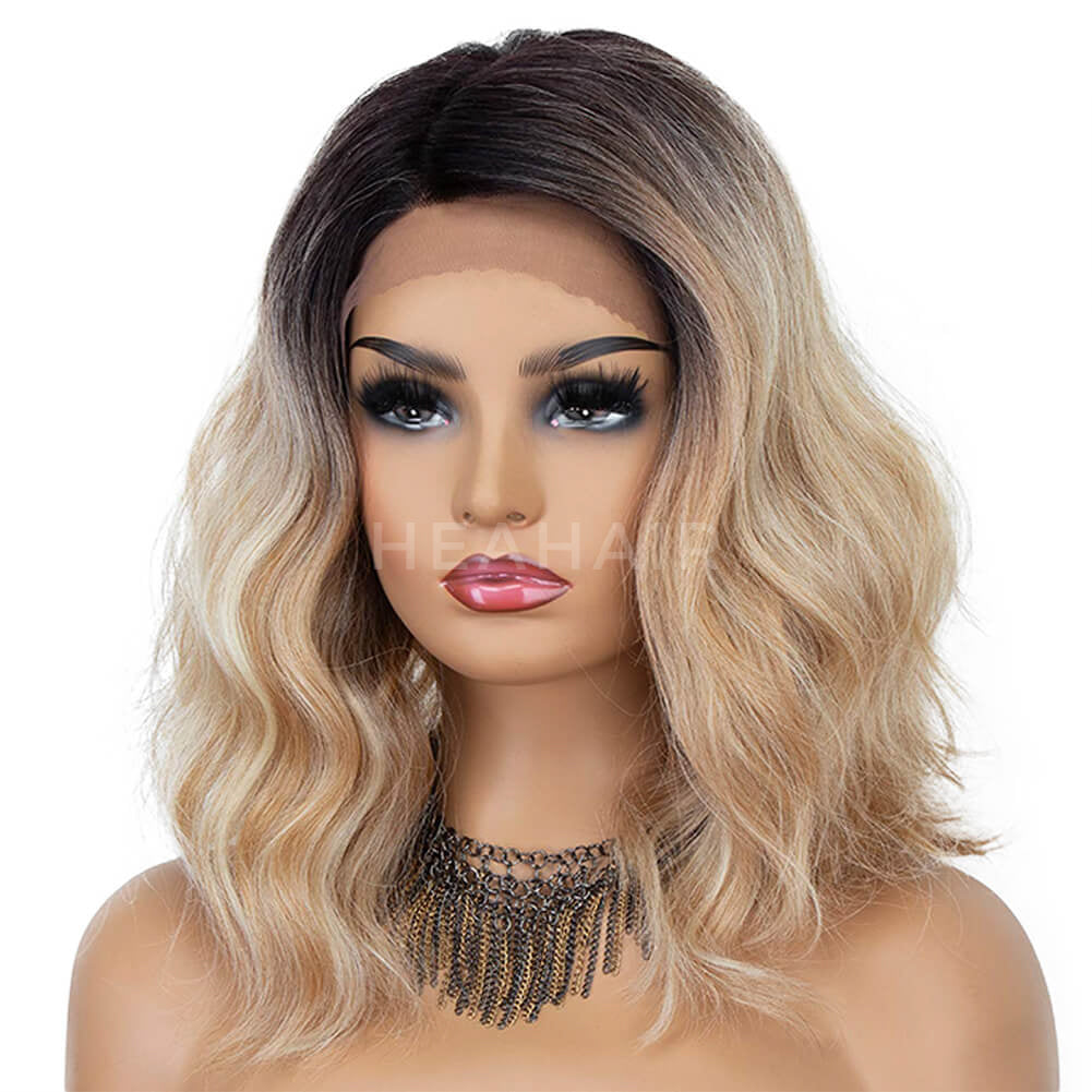 HEAHAIR Ombre Blonde Bob Wavy Synthetic Lace Front Wigs HS7079