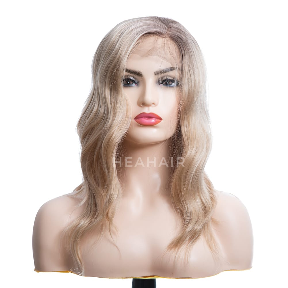 Ombre Blonde Bob Side Part Synthetic Lace Front Wigs HS7084