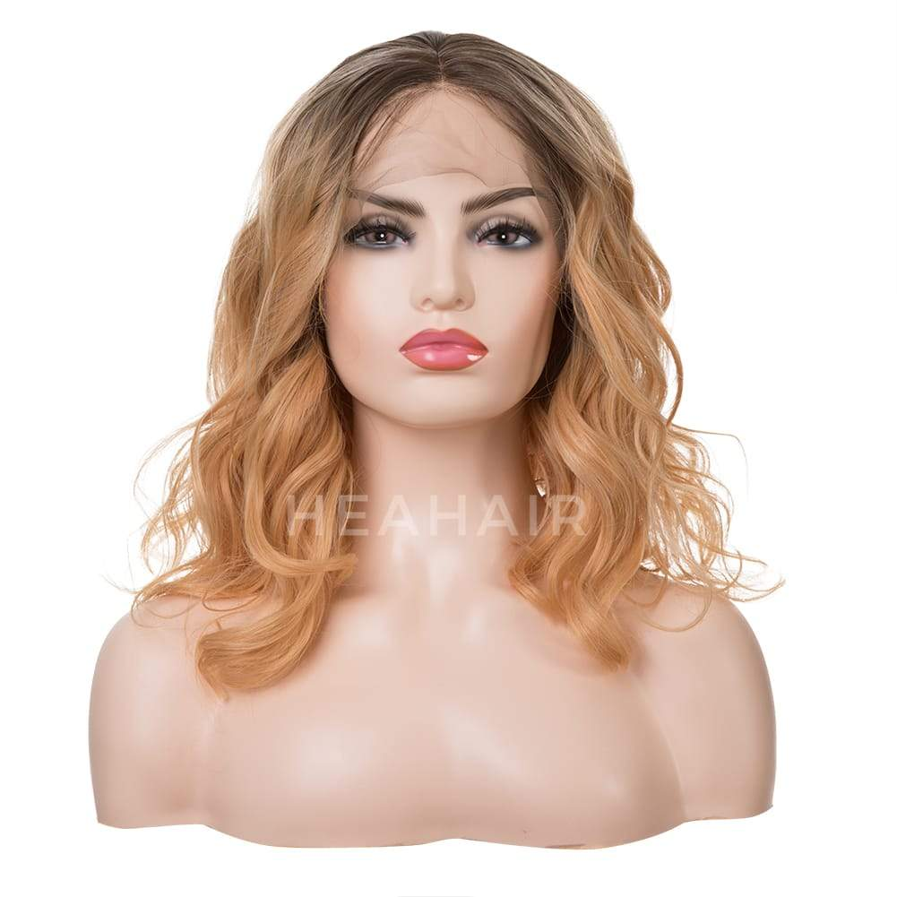 Ombre Light Orange Water Wave BOB Synthetic Lace Front Wig HS7107