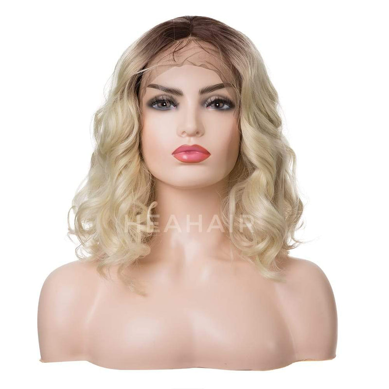 Ombre Blonde Water Wave BOB Synthetic Lace Front Wig HS7108