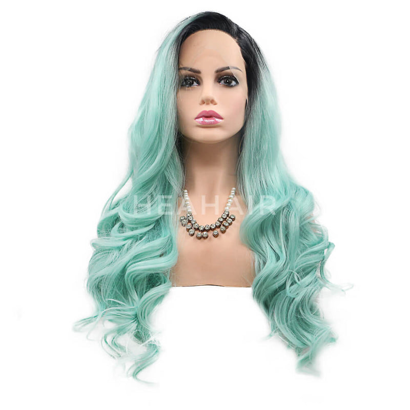 Ombre Green Side Part Synthetic Lace Front Wig HS7111
