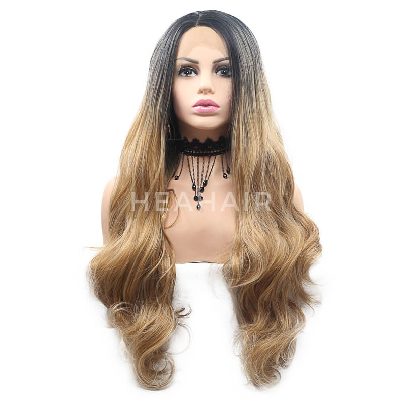 Ombre Brown Synthetic Lace Front Wig HS7113