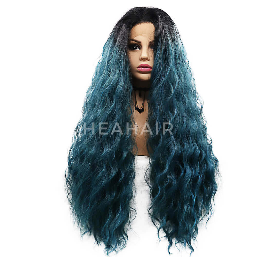 Ombre Green Curl Synthetic Lace Front Wig HS7115