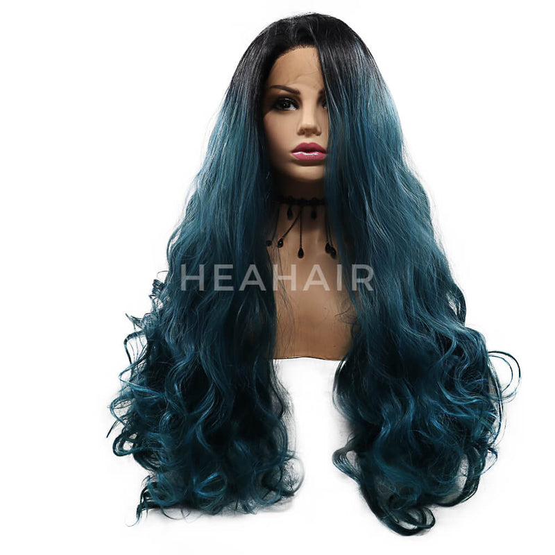 Ombre Green Wavy Synthetic Lace Front Wig HS7116