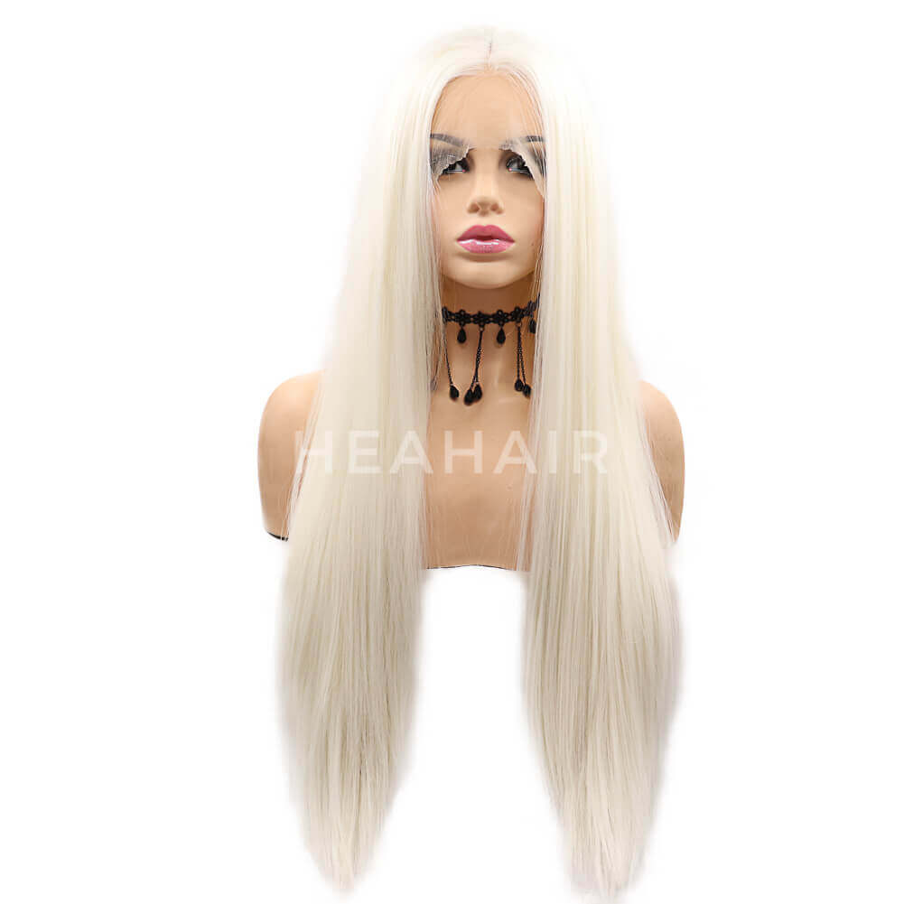 White Blonde Straight Synthetic Lace Front Wig HS7120