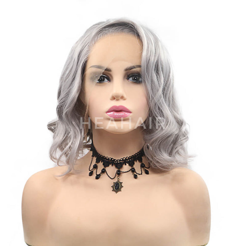HEAHAIR Gray Bob Synthetic Lace Front Wig HS7122