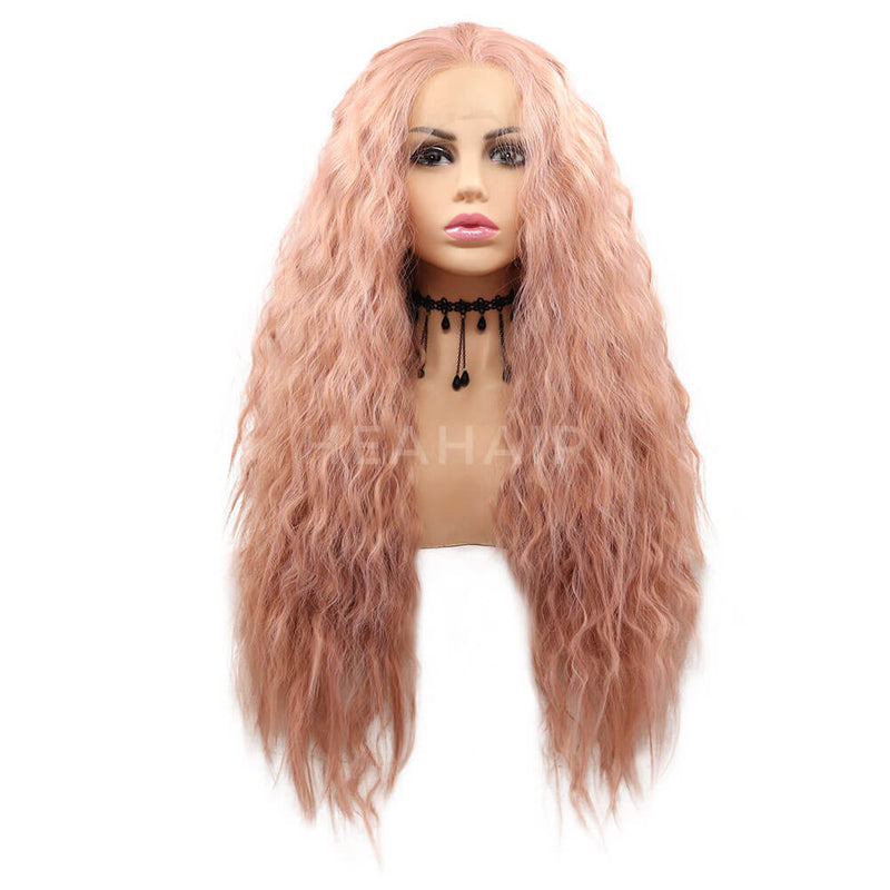 HEAHAIR Pink Curl Synthetic Lace Front Wig HS7125