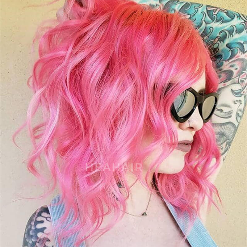 HEAHIR Pink Water Wave Bob Synthetic Lace Front Wig HS7126