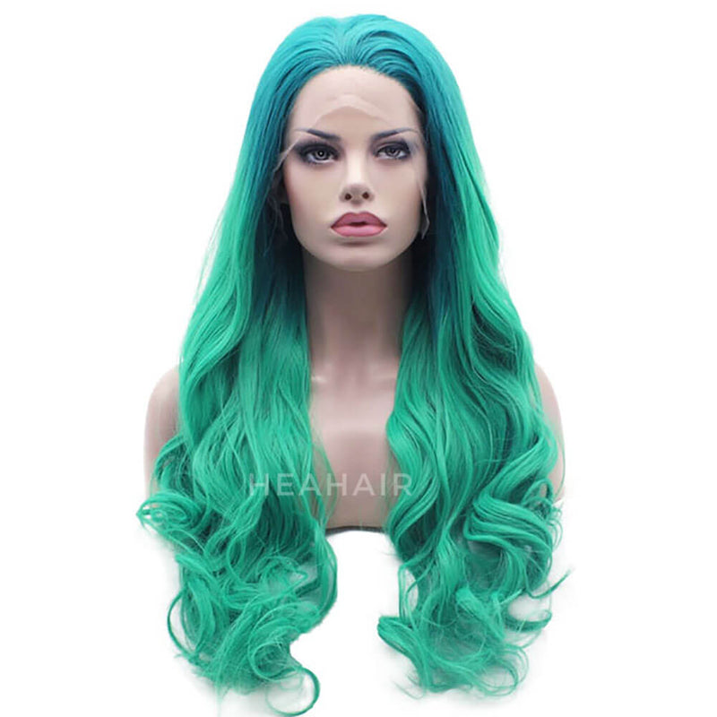 HEAHAIR Ombre Green Wavy Synthetic Lace Front Wig HS7127