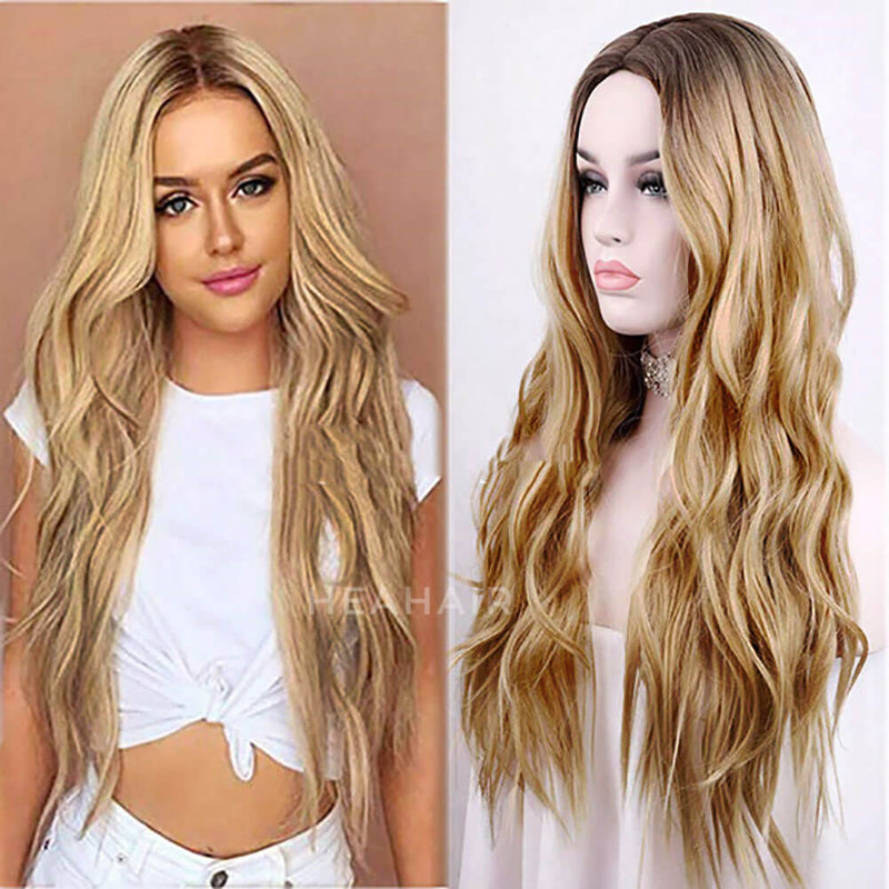 HEAHAIR Ombre Blonde Wavy Synthetic Lace Front Wig HS7128