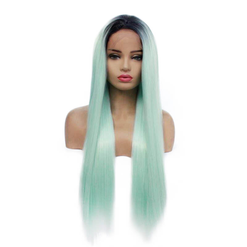 HEAHAIR Ombre Light Green Straight Synthetic Lace Front Wigs HS7131