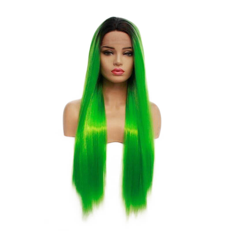 HEAHAIR Ombre Lime Green Straight Synthetic Lace Front Wigs HS7132