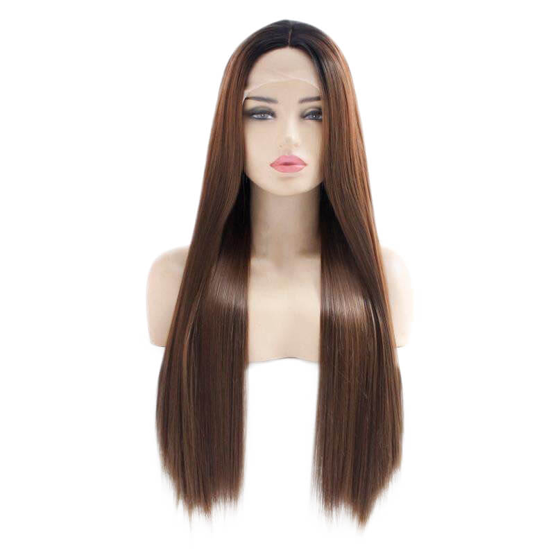 HEAHAIR Ombre Brown Straight Synthetic Lace Front Wigs HS7134