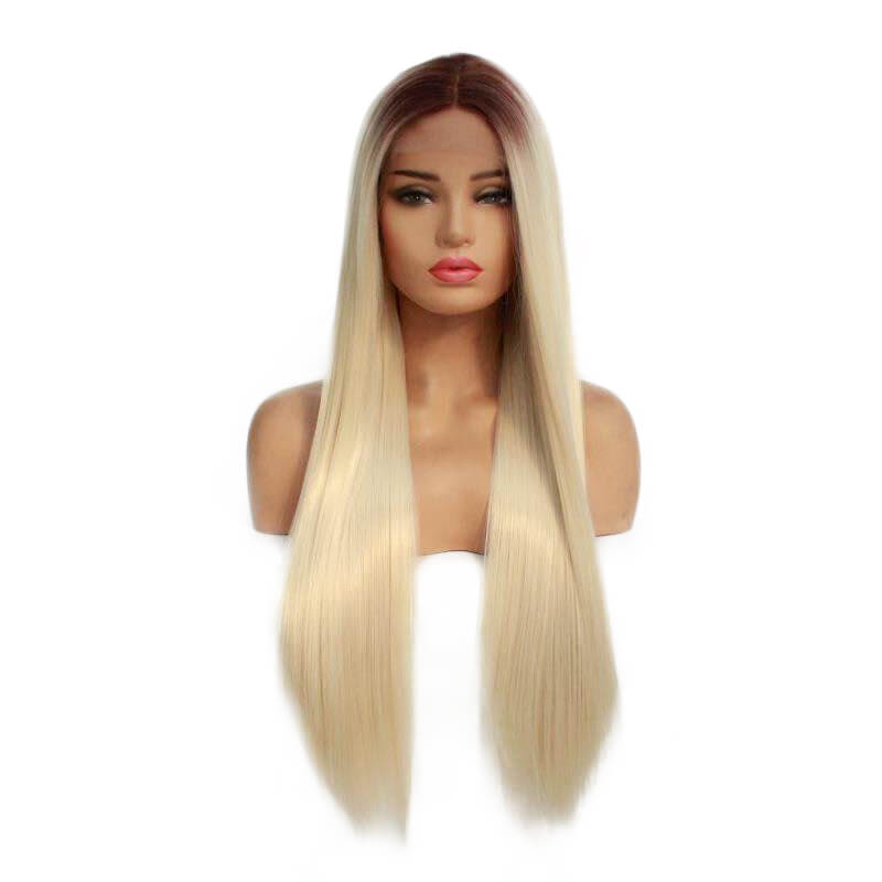 HEAHAIR Ombre Blonde Straight Synthetic Lace Front Wigs With Brown Root HS7135