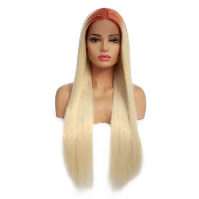 HEAHAIR Ombre Blonde Straight Synthetic Wigs With Reddish Brown Roots HS7136