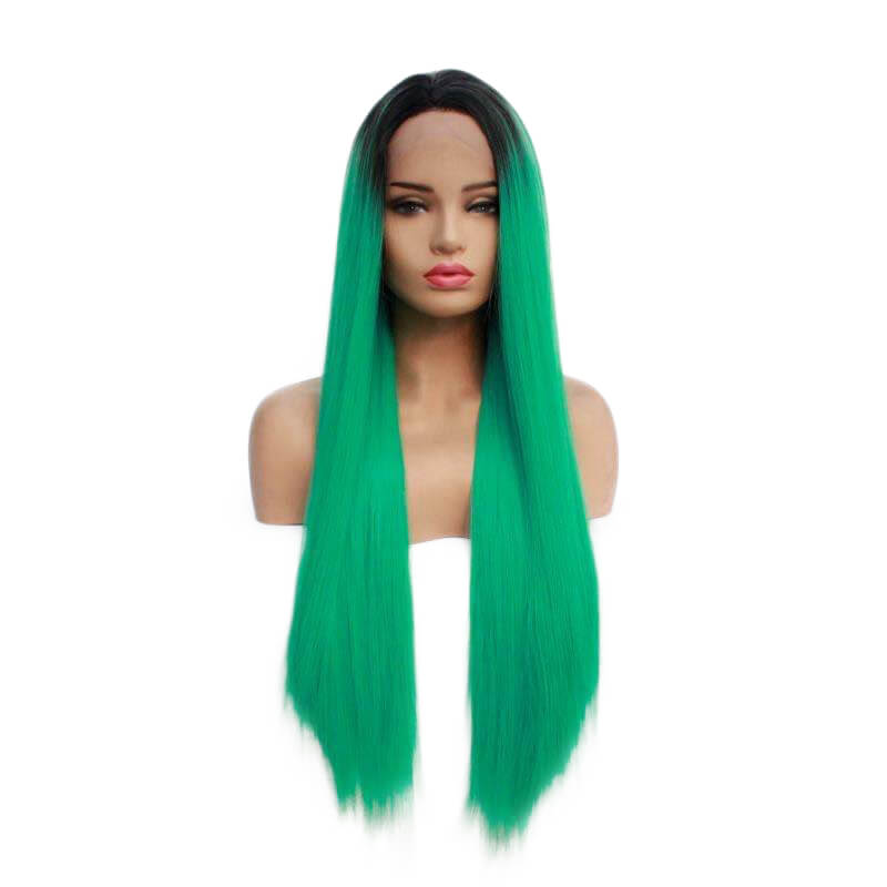 Ombre Green Straight Synthetic Lace Front Wig HS7137