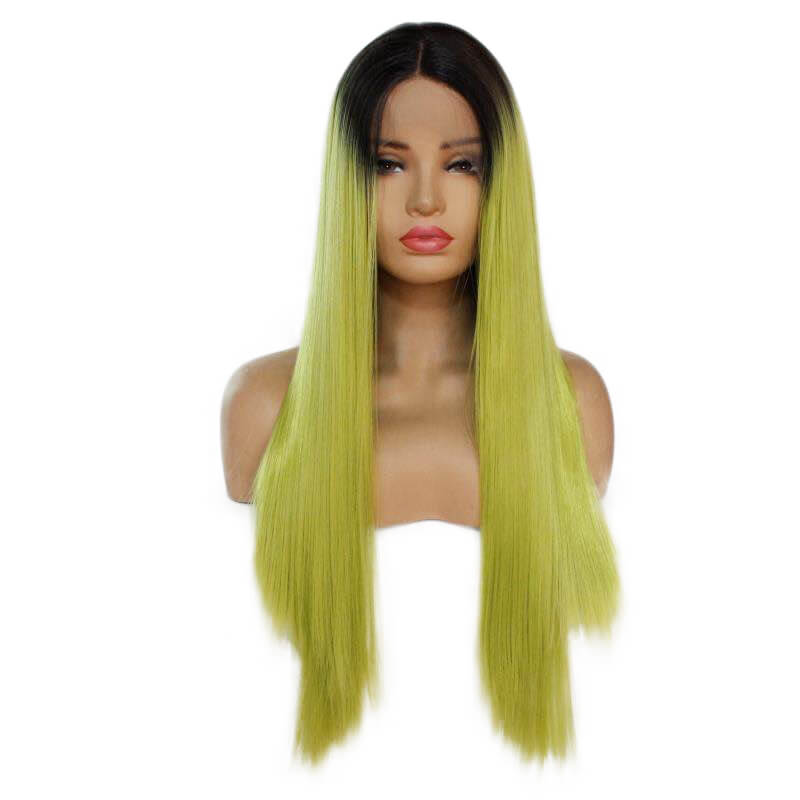 Ombre Yellow Green Straight Synthetic Lace Front Wig HS7138