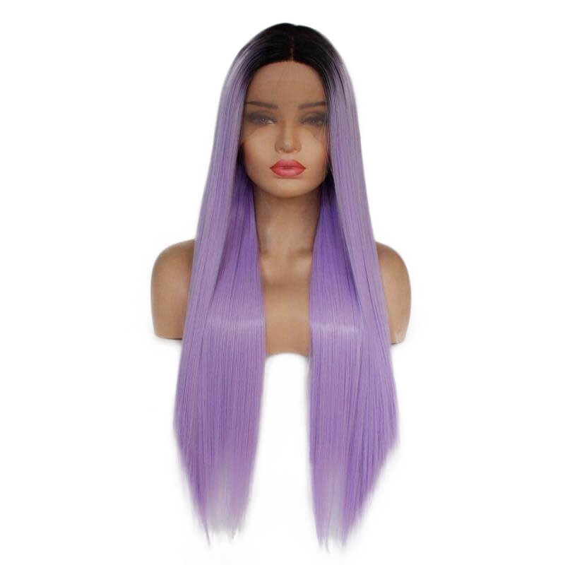 Ombre Purple Straight Synthetic Lace Front Wigs HS7139