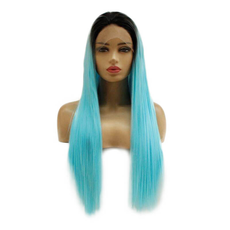 Ombre Light Blue Synthetic Lace Front Wigs Dark Root HS7141