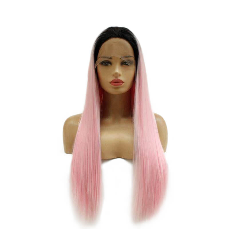 HEAHAIR Ombre Pink Straight Synthetic Lace Front Wig HS7142